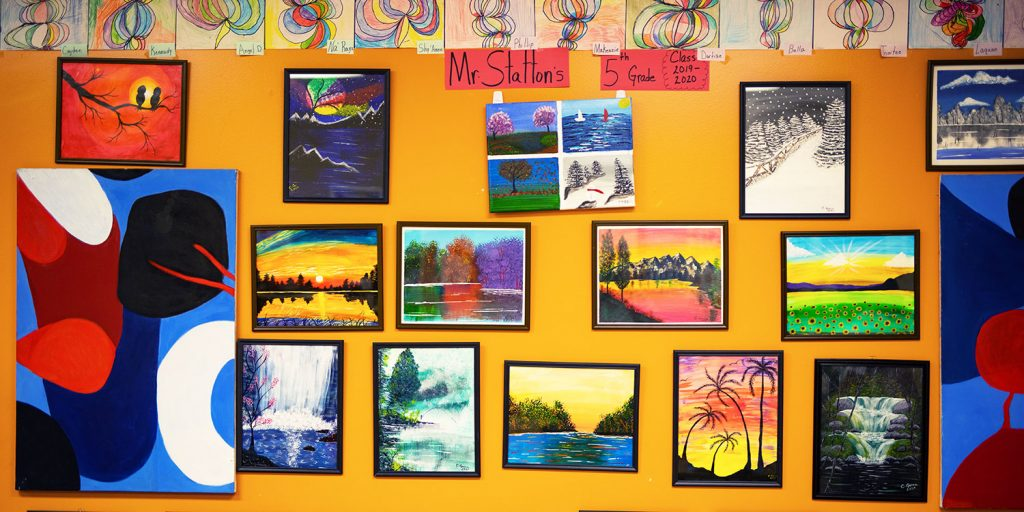 Artwork displayed on a wall.